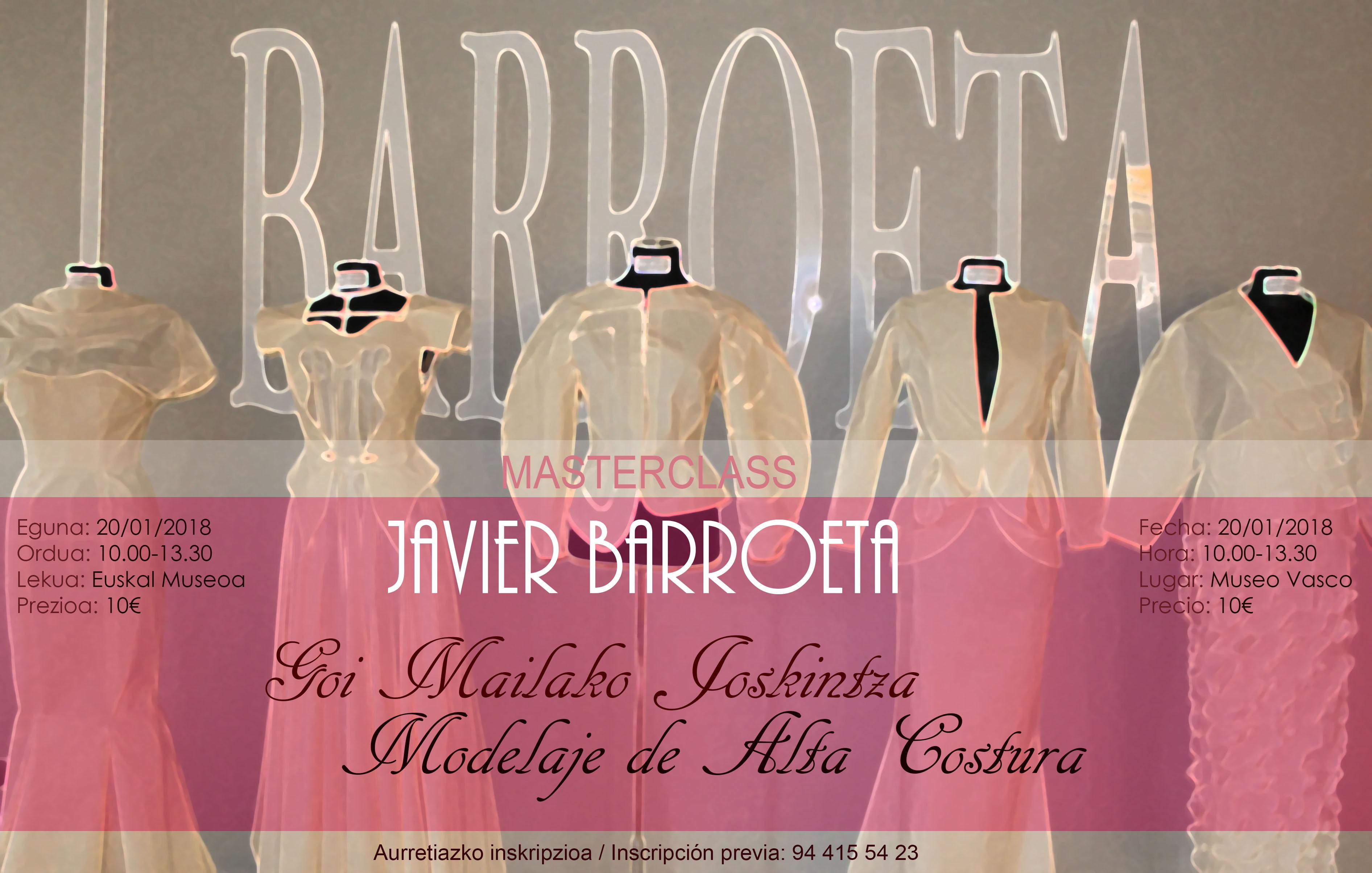 Javier Barroeta jostun ospetsuak Goi Mailako Joskintzako  class bat emango du Euskal Museoan